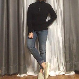 CALVIN KLEIN • Knit Turtleneck Quarter Zip Sweater